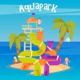 Waterpark De vakantie van de zomer Pret Aquapark Waterheuvels Royalty-vrije Stock Afbeeldingen