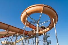 Waterpark in luxury tropical resort, water slide Royalty Free Stock Photo