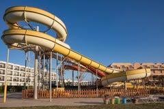 Waterpark in luxury tropical resort, water slide Stock Images