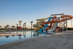 Waterpark in luxury tropical resort, water slide Stock Photo