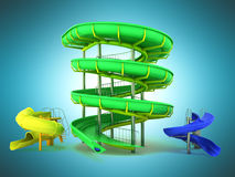 Waterpark slides green yellow blue 3d rendering on blue backgrou Stock Image