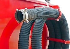Waterpijp van brandvrachtwagen Royalty-vrije Stock Afbeeldingen