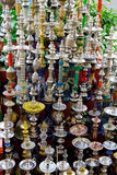 Waterpipe. Many different waterpipes in store Stock Photos