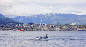 Waterplane im Hafen von Vancouver - aeroboat - VANCOUVER/KANADA - 12. April 2017 Lizenzfreie Stockbilder