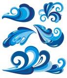 Waterplonsen en golven Stock Afbeelding