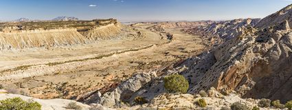 Waterpocket Fold Panorama. Panoramic view of the Waterpocket Fold from the Strike Valley Overlook in Capitol Reef National Park, Utah royalty free stock photos