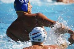 Waterpolo konkurrens CN Mataro VS Barceloneta Mataro Arkivfoto