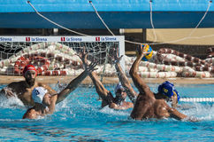 WATERPOLO MATCH - MATARO vs ATL. BARCELONETA Royalty Free Stock Photography