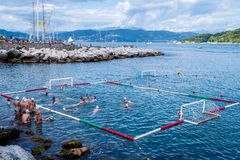 Waterpolo in the sea. A waterpolo game in the sea Royalty Free Stock Photos