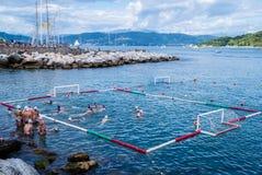 Waterpolo w morzu Zdjęcia Royalty Free