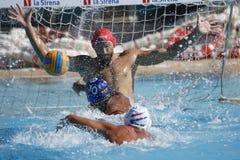Waterpolo-Wettbewerb KN Mataro GEGEN Barceloneta Mataro Stockbilder