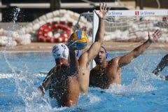 Waterpolo-Wettbewerb KN Mataro GEGEN Barceloneta Mataro Lizenzfreies Stockfoto