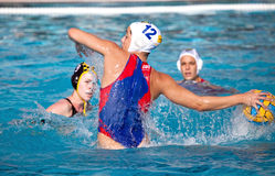 Waterpolo woman player Royalty Free Stock Images