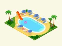 Waterpool al aire libre isométrico realista Imagen de archivo