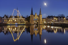 Waterpoort Sneek durch Vollmond Lizenzfreies Stockbild