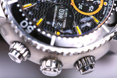 Waterproof. Watches are in stopwatch to capture close-ups stock images