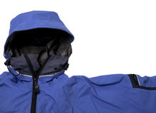 Waterproof breathable paddling jacket. A detail of blue waterproof breathable paddling jacket  with hood, isolated on white Stock Photography