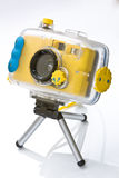 Waterproof camera on tripod. Waterproof diving camera on a tabletop tripod Stock Photography