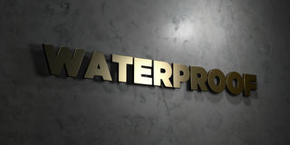 Waterproof - Gold text on black background - 3D rendered royalty free stock picture Royalty Free Stock Image