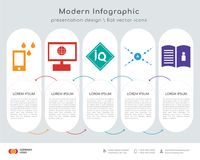 Waterproof infographics design. Infographics design  and waterproof, intranet, IQ, antioxidant, user guide icons can be used for workflow layout, diagram, annual Royalty Free Stock Image