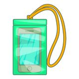 Waterproof phone case icon, cartoon style Stock Photography