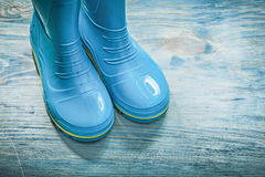 Waterproof rubber boots on wooden board gardening concept.  royalty free stock photography