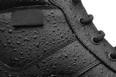 Waterproof shoe. Close-up shot of a leather waterproof boot royalty free stock image