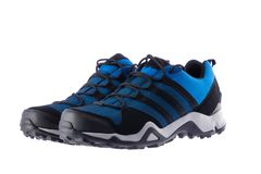 Waterproof sport shoes, winter boots for men isolated on white b royalty free stock images