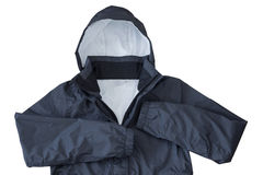 Waterproof windproof Rain jacket with hood in black isolated on Royalty Free Stock Photography