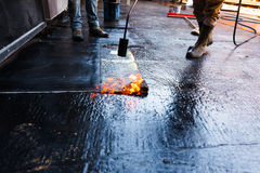 Waterproofing of the building foundation stock image