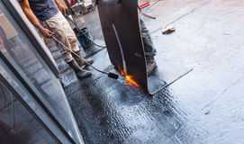 Waterproofing of the building foundation royalty free stock photography