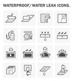 Waterproofing icon sets. Waterproofing and water leaked vector icon design Stock Images