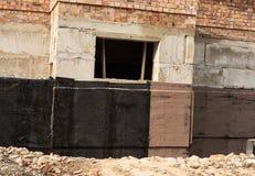 Waterproofing källare och fundament Fotografering för Bildbyråer