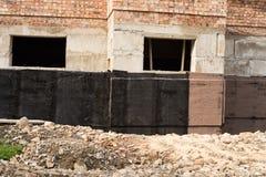 Waterproofing källare och fundament Arkivbilder