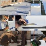 Waterproofing- och isoleringspvc-terrass Fotografering för Bildbyråer