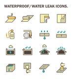 Waterproof water leak. Waterproofing and water leaked vector icon set design Royalty Free Stock Photography