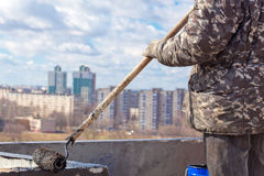 Waterproofing works royalty free stock photography