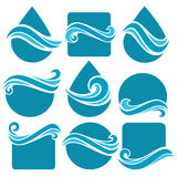 Waterr shapes. Set of water design elements, signs,  icons, logo elements and shapes Royalty Free Stock Photos
