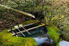 Waterreiniging bij ingang van de Japanse tempel De gietlepel van Japan in heiligdom Royalty-vrije Stock Afbeeldingen