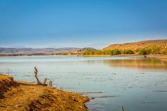 Waterreservoir Gr Mansour Eddahbi dichtbij Ouarzazate, Marokko stock foto