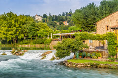 Waters and ancient buildings of Italian medieval village Royalty Free Stock Photography