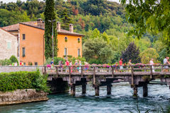 Waters and ancient buildings of Italian medieval village Royalty Free Stock Photos