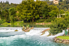 Waters and ancient buildings of Italian medieval village Stock Photos