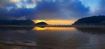 Waters of the Cantabrian Sea, Bay of La Concha, in the city of san sebastian. Royalty Free Stock Photography