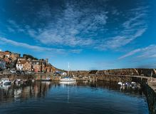interior View of Crail Harbor on a fair weather day, Aberdeenshire, Scotland royalty free stock photos