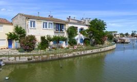 Properties on the bank of a canal Stock Photo