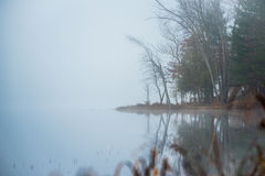 Waters edge in early morning fog on a lake near Ottawa, Ontario. Royalty Free Stock Image