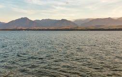 Waters of Liptovska Mara lake in Liptovsky Trnovec village, Slovakia. stock photo