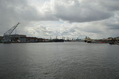 The waters of the Neva River. Plain landscape in St. Petersburg Stock Images