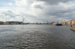 The waters of the Neva River. Plain landscape in St. Petersburg Stock Image